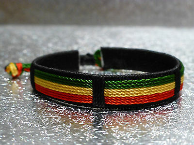 green, yellow, red, black Rasta Flag fabric bracelet African