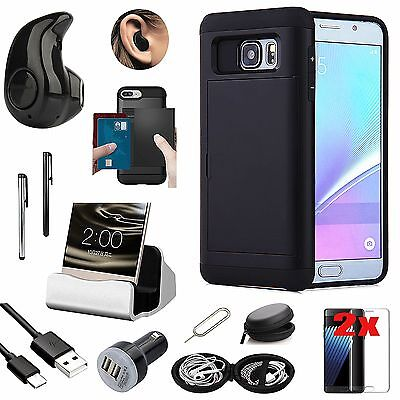 Wallet Case Cover Charger Bluetooth Earphones Bundle For Samsung Galaxy S7 Edge