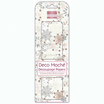 3 Sheets Of Decoupage / Deco Mache Paper First Edition Multi Snowflakes