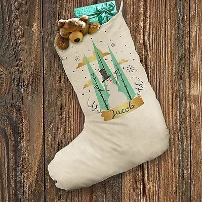 Personalised Santa Christmas Stocking Snowman Forest Christmas White
