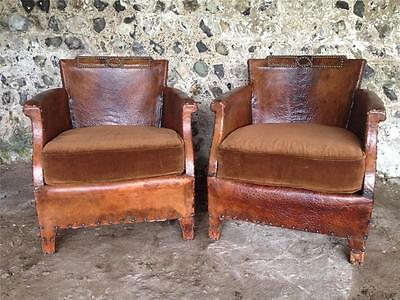 Beautiful Pair Antique French Leather Club Arm Chairs C1950 Vintage Aviator