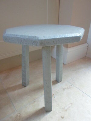 Vintage French octagonal 3 leg milking stool, pale blue, plant stand shabby chic