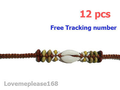 12 White Shell Wooden Beads Wax String Bracelets Handmade DIY Gift Wholesale Lot