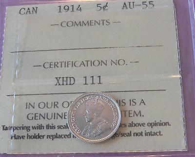 Canada 1914 5 cents ICCS AU-55 - Nice Bright Coin - A136