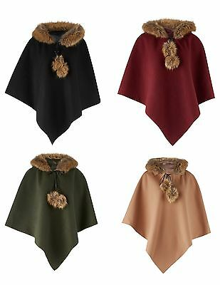 New Women's Ladies Hooded Faux Collar Fur Poncho - One Size