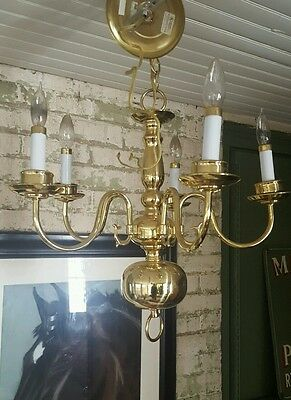 Hunter Solid Brass Colonial  dutch style Chandelier Model 12504