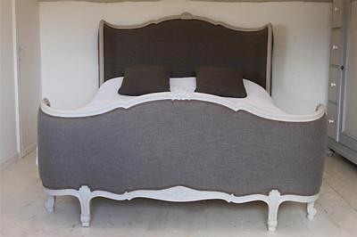 RESTORED REUPHOLSTERED ANTIQUE FRENCH CORBEILLE DOUBLE BED in elephants breath