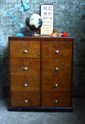 Vintage Industrial Double Wooden Filing Cabinet Cupboard Chest of 8 Drawers