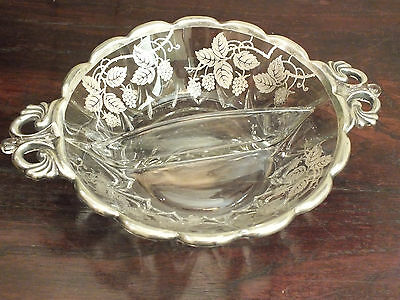 Antique Divided Glass with Sterling Silver Overlay Handled Relish Dish / Bowl