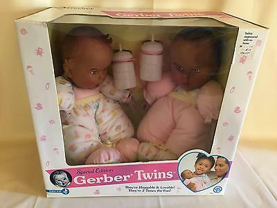 "Vintage 1995 Special Edition A/A Gerber Twins 12"" Plush Baby Doll by Toy Biz"