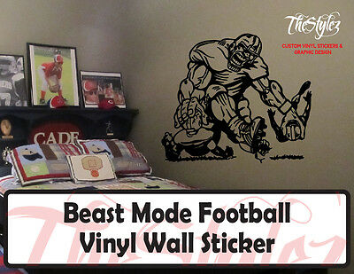 Beast Mode Football Custom Vinyl Wall Sticker
