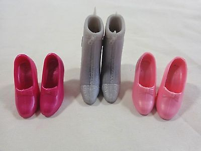 BARBIE Fashion Doll Shoes 3 Pairs High Heels Pink Hot Pink Gray Boots