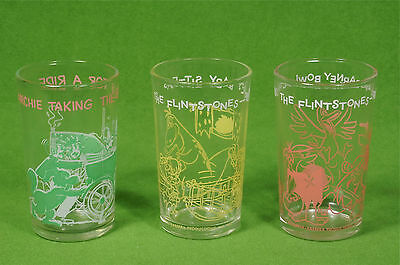 Vintage Welch'S Drink Glasses: Flintstones (Fred, Barney, Pebbles) + Archie