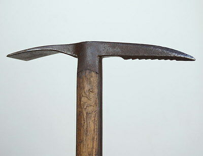 Antique Swiss Alpine Ice Axe Hand Forged Iron Head & Hickory Wood Shaft ca1880