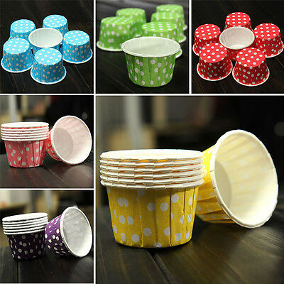 100PCS Pleated Cupcake Case Muffin Cases Polka Dot Striped Paper Baking Cups Hot