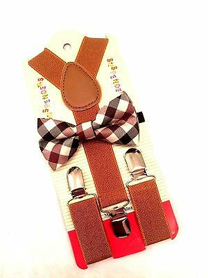 Santa Says Plaid Suspender and Bow tie boys toddlers baby children For Christmas