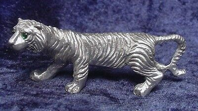 Pewter TIGER with Green Crystal Eyes