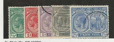 St. Kitts & Nevis, British, Postage Stamp, #37-39, 42, 43a Used, 1921-22