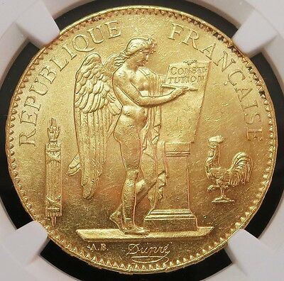 1879 A Gold France 100 Francs Standing Genius Coin Ngc Mint State 61