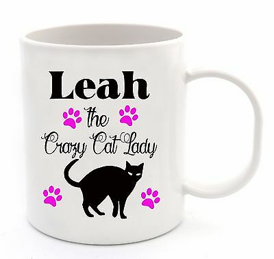Personalised Add a Name Crazy Cat Lady Coffee Cup Mug Birthday Gift Present Idea