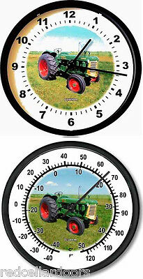 """New OLIVER Model 99 Tractor Wall Clock & Thermometer Set 10"""" Round Green Yellow"""