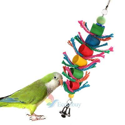 New Wood Hanging Colorful Bird Cage Cylinder and Rope Toy for Parrot Hamster #A