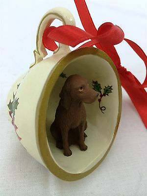 Vizsla Tea Cup Christmas Ornament Holiday Dog Figurine