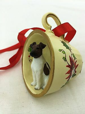Fox Terrier Brown/White Tea Cup Christmas Ornament Holiday Dog Figurine