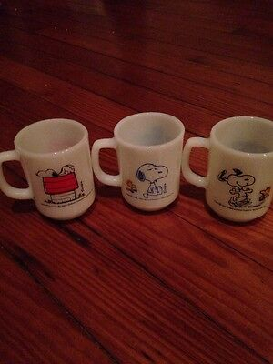 Snoopy Fire King Mug Lot Of 3 Vintage Peanuts