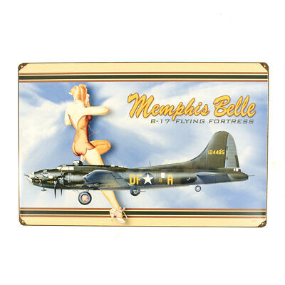 U.S. WW2 Vintage Metal Sign B-17 B-17 Flying Fortress Memphis Belle, Made in USA