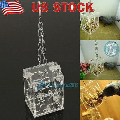 Parrot Bird Cage Feeder Hang Foraging Toy Pet Treat Hunt Macaw Cockatoo Creative