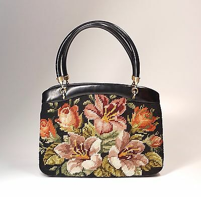 "Vintage Floral Wool Needlepoint Rosenfeld Purse Handbag 9.5"" Long"
