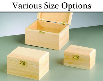 Choice of Routered Lidded Wooden Boxes with Clasps to Decorate