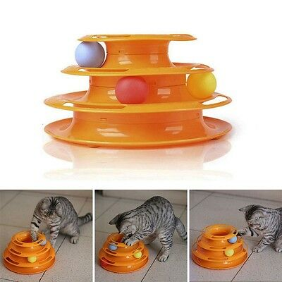 Cat Kitty Interactive Crazy Ball Disk Pet Amusement Game Trilaminar Toy Tower UK