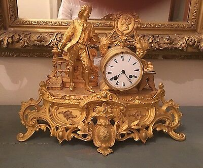 RARE 19c French Ormolu Clock Depicting An Artist fr Chateau de Perreux