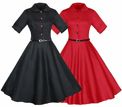 50s 60s Vintage Retro Swing Housewife Rockabilly Evening Party Dress With Belt