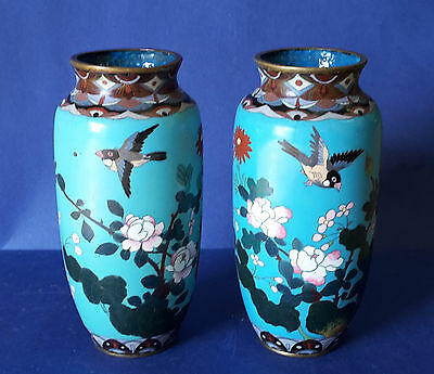 Pair of antique 19th century Chinese Cloisonne vase birds / flowers / butterfly