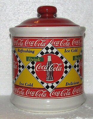 Coca Cola 1995  Red And Yellow Rare Ceramic Small Jar Canister With lid And Box