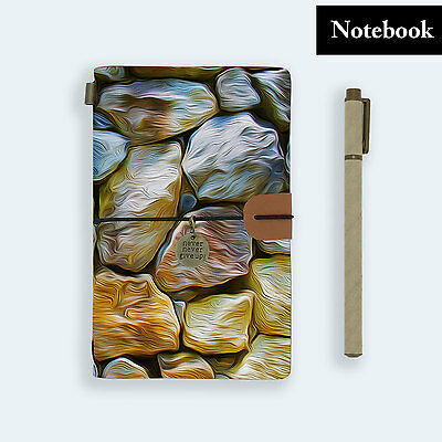 Hand Made Genuine Leather Journal Travel Diary Travelers Notebook Size Stone