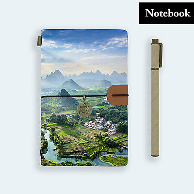 Hand Made Genuine Leather Journal Travel Diary Travelers Notebook Size Mountain