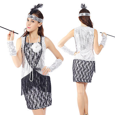 Sexy Donna Cosplay Costume Carnevale 1920s Chicago Stile + Frange Paillette