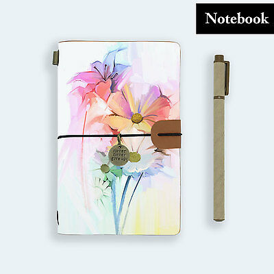 Genuine Leather Journal Travel Diary Travelers Notebook Size Watercolor Flower