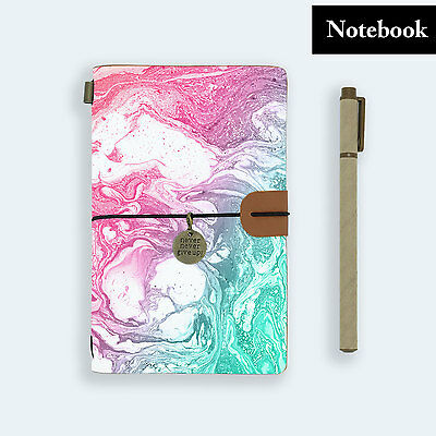 Genuine Leather Journal Travel Diary Travelers Notebook Size Rainbow Marble