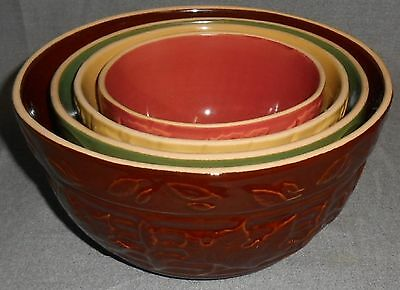 Set (4) Gooseberry Patch RUST/YELLOW/GREEN/BROWN Mixing Bowls EMBOSSED