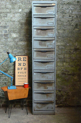 Vintage Tall French Industrial Metal Filing Cabinet Cupboard
