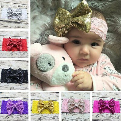 Cute Baby Girls Toddler Newborn Big Bow Headband Headwear Hair Band Accessories
