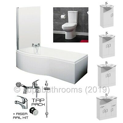 P Shaped 1700 Shower Bath, WC & Vanity + Tap Pack