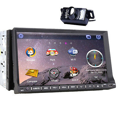 """7"""" Touch Screen 2Din Auto Radio GPS AM/FM MP4 CD Player Stereo Audio Aux Monitor"""