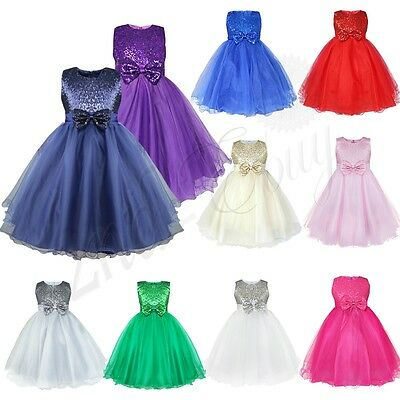 Flower Girl Princess Kids Pageant Wedding Party Formal Birthday Kids Tulle Dress