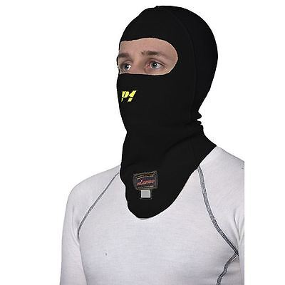 P1 Racewear Open Face Nomex Balaclava Black Motorsport, Race, Rally FIA Approved